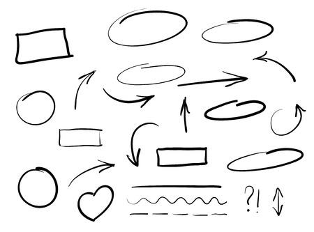 dessin noir et blanc: Flèches cercles et abstraite écrit doodle vecteur de conception ensemble