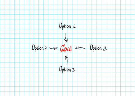 options: Goal options hand-drawn vector design doodle style Illustration
