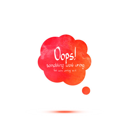 oops: Oops colorful watercolor message. Vector speech bubble
