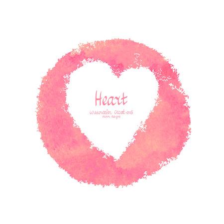 심장 벡터 수채화 배너입니다. 추상 낭만적 인 디자인