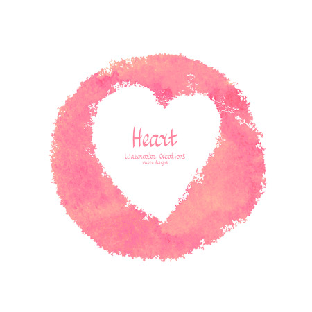 Heart vector watercolor banner. Abstract romantic design Ilustração