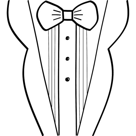 dressy: Abstract hand-drawn sketchy black and white tuxedo design Illustration