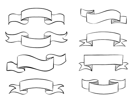 ruban noir: Hand-drawn banner scribble vector vintage scroll design
