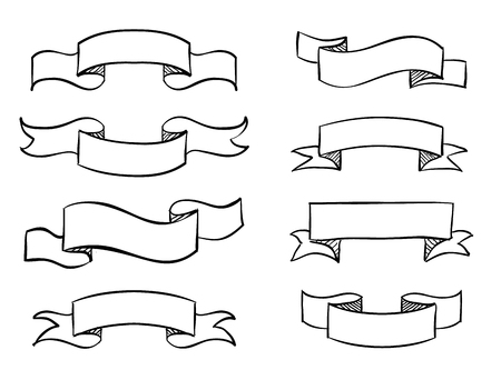contorno: Bandera a mano del vector garabato diseño de la voluta de la vendimia