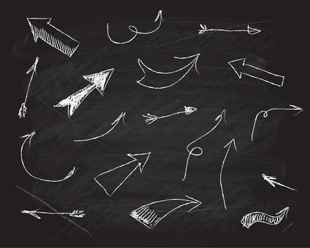 flechas direccion: Vector pizarra sribble elementos de diseño del doodle de flechas establecidas