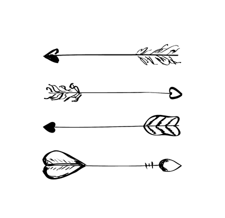collection: Hand-drawn vector arrows with feathers doodle elements