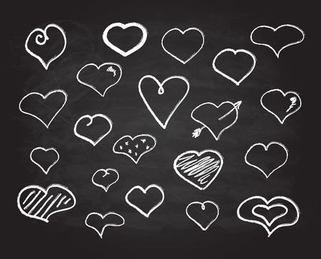 abstract scribble: Vector scribble chalk heart icons set abstract collection