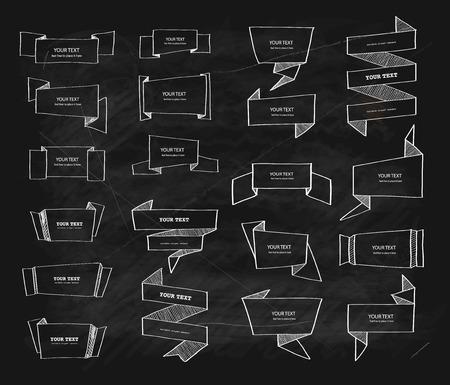 tablero: Vector grande tiza banderas de origami conjunto de diseño retro