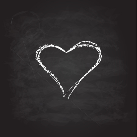 heart abstract: Abstract white heart. Scribble chalk retro design