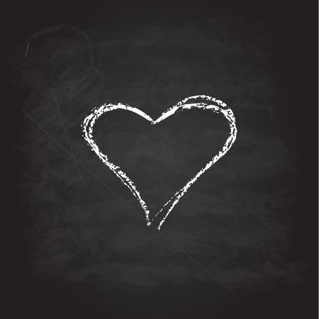 scribble: Abstract white heart. Scribble chalk retro design
