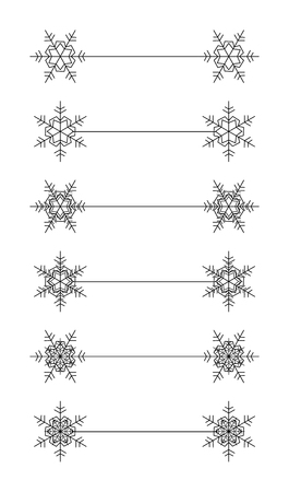 page divider: Vector snowflakes divier design black and white Christmas set