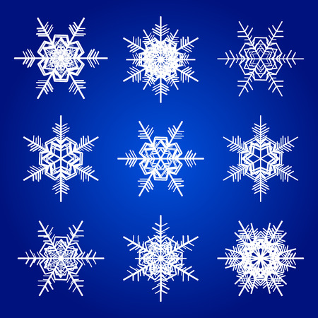 illustratio: Vector snowflakes white isolated on blue holidays illustratio Illustration