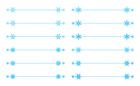 Vector snowflakes divider design blue holiday winter Christmas set