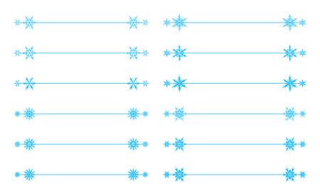 page divider: Vector snowflakes divider design blue holiday winter Christmas set