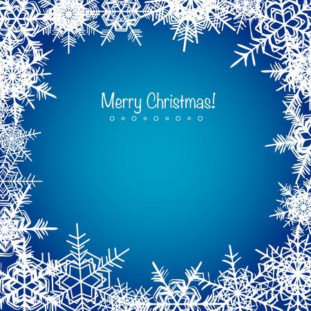 Blue frosty Christmas snowflakes background holiday design Illustration