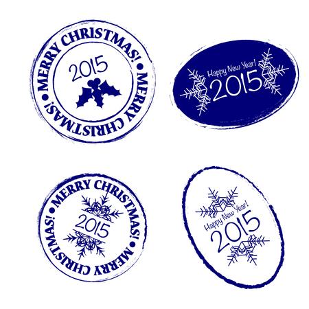 post stamp: Merry Christmas grunge post stamp retro illustration