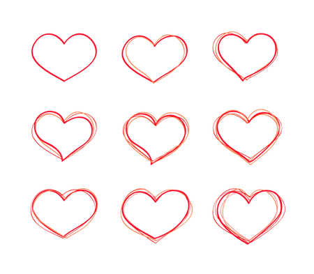 basics: Hand-drawn vector red heart shapes set. Basics collection