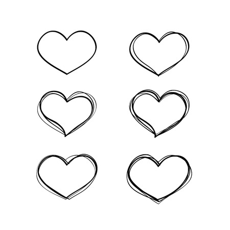 Hand-drawn vector black heart shapes set. Basics collection