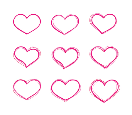 heart symbol: Hand-drawn vector red heart shapes set. Basics collection
