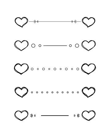 Hart verdelers krabbelen vector grenzen met de hand getekende set