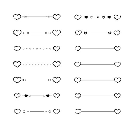 Heart dividers scribble vector borders hand-drawn set Illustration