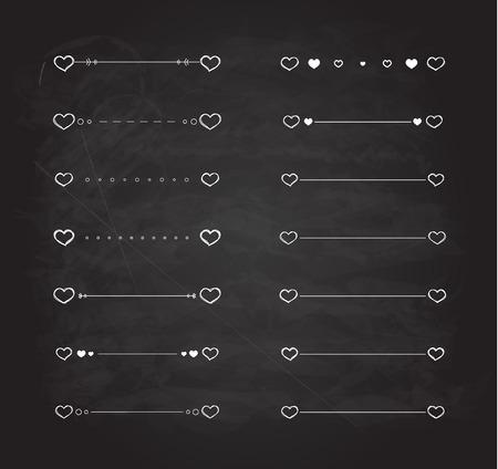 scribble: Heart dividers scribble vector borders hand-drawn set Illustration