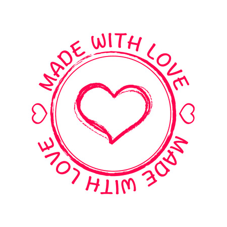 love shape: Grunge retro stamp made with love heart shape icon