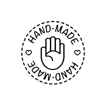 handmade: Vector hand-made badges trendy modern style black and white