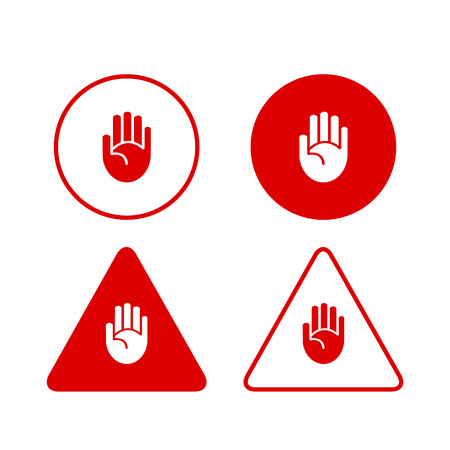 hand stop: Set of stop hand icons prohibition danger restirction