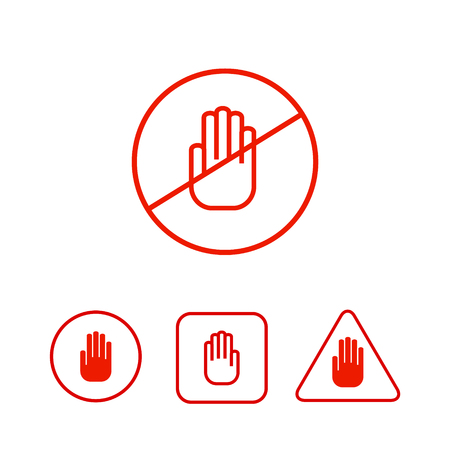 red sign: Set of stop hand icons prohibition danger restirction