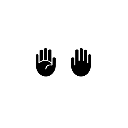 stop hand silhouette: Vector hand icon black outline isolated on white
