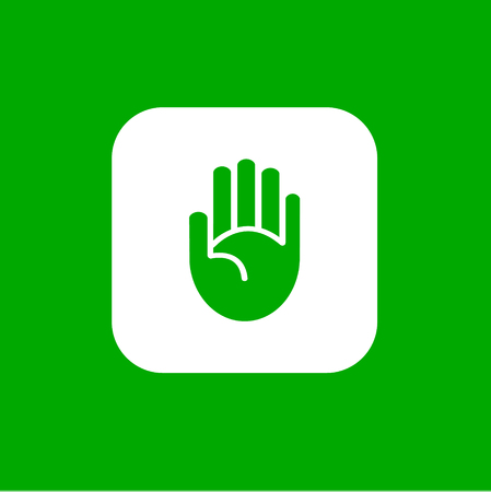 human touch: Simple hand icon isolated on gree. Yes go light