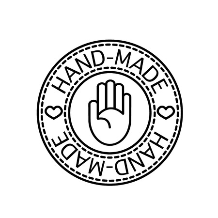 hand craft: Vector handcrafted hand-made badge for your business and craft