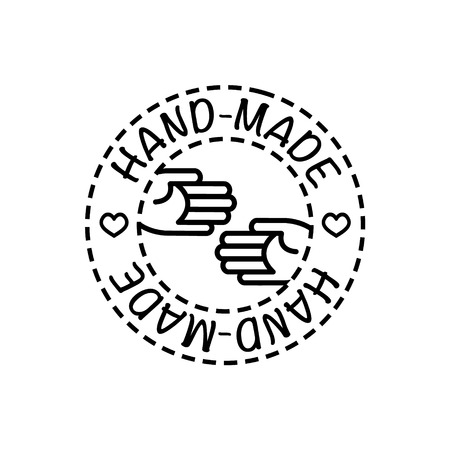 handcrafted: Vector handcrafted hand-made badge for your business and craft