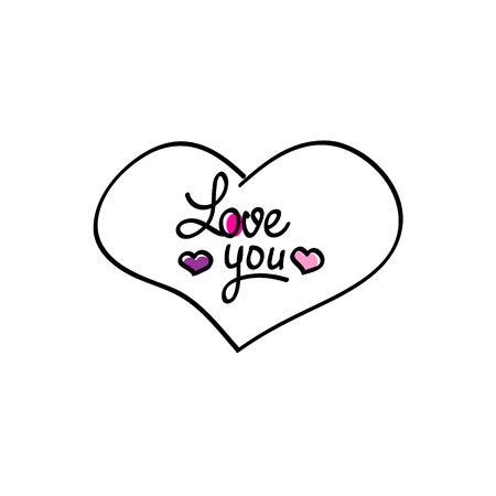 affirmative: Hand-drawn heart love you icon Valentine day symbol