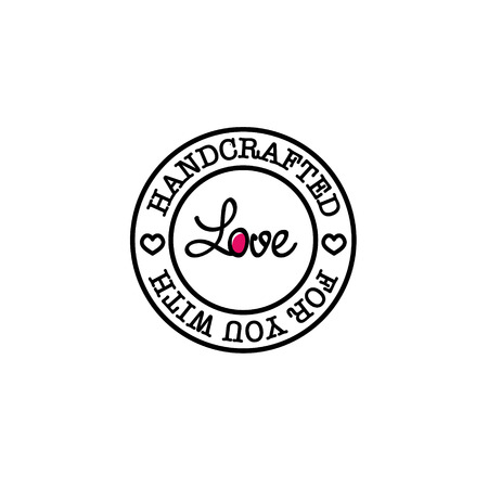 Hand-made for you with love retro badge design Illustration