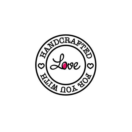 Met de hand gemaakt voor u met liefde retro badge ontwerpen