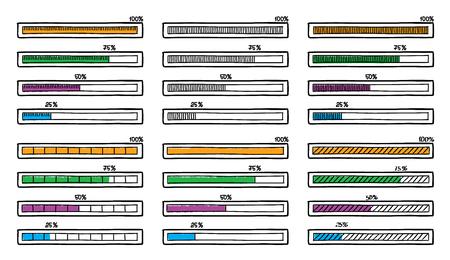 handdrawn: Mega set of hand-drawn doodle progress bar designs Illustration