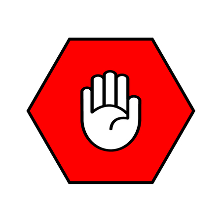 octagon: Stop sign. Open palm in red octagon. Pass prohibited