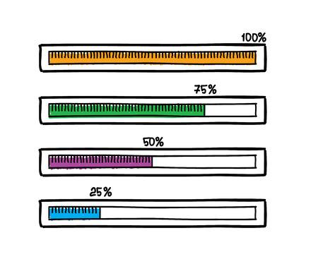 handdrawn: Hand-drawn progress bar. Doodle sketch design Illustration