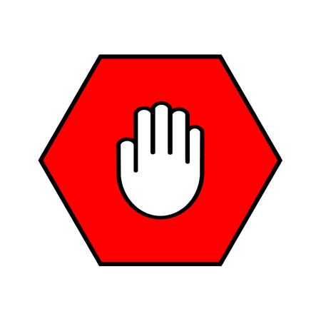 pictogram attention: Stop sign. Open palm in red octagon. Pass prohibited