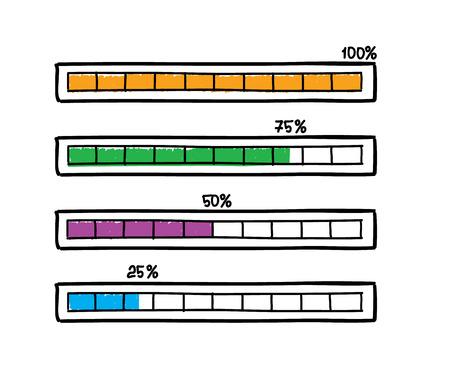 handdrawn: Set of hand-drawn vector doodle progress bars sketches Illustration