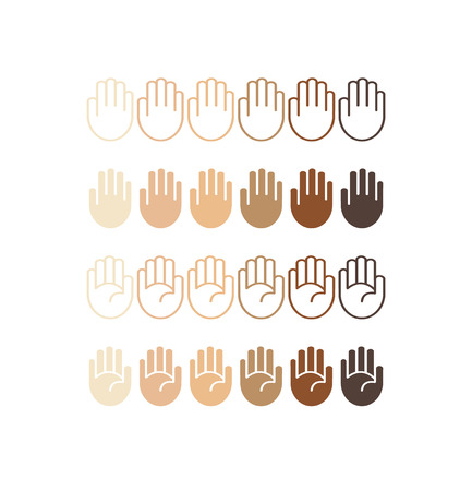 skin tones: Hand palm icons set in different skin tones