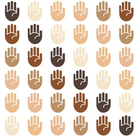 tone: Vector seamless skin tone palms background pattern