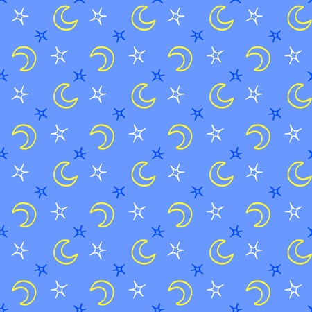 lullaby: Seamless soft stars and moon baby night background. sweet dreams pattern