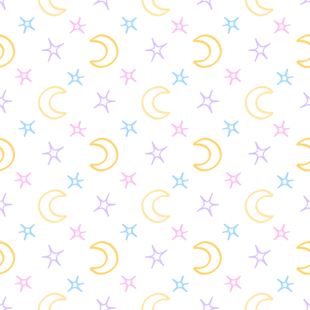 sweet dreams: Seamless soft stars and moon baby night background. sweet dreams pattern