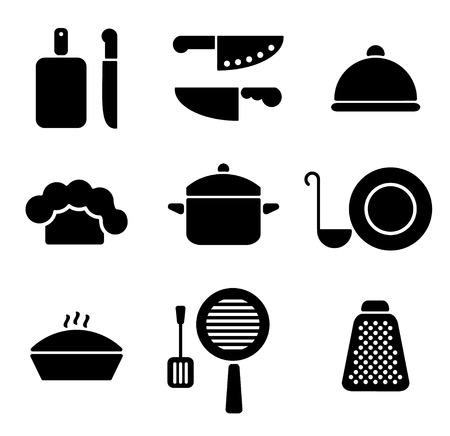 piatto: Nero cucina pentole set di icone di design minimal