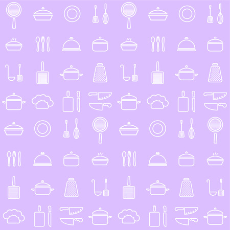 Seamless line kitchen icons background in nice colors Vector Illustration