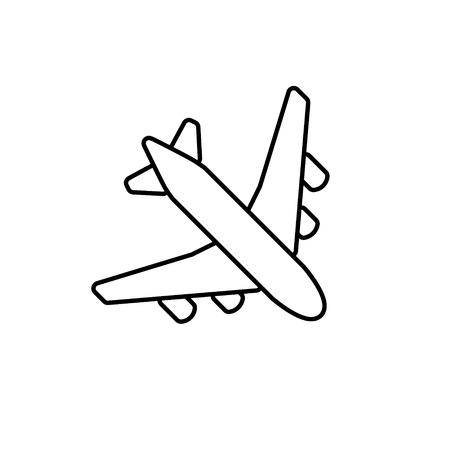 aereo: contorno nero piano. Semplice linea aeroplano icona del design Vettoriali