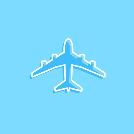 airport sign: Blue vector plane icon on blue. Simple travel modern design